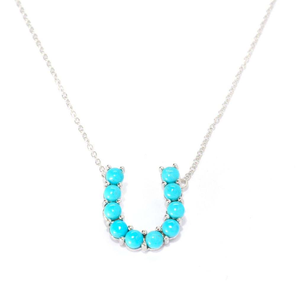 "141-223 - Gem Insider Sterling Silver 17.5"" Round Kingman Turquoise Horseshoe Necklace"