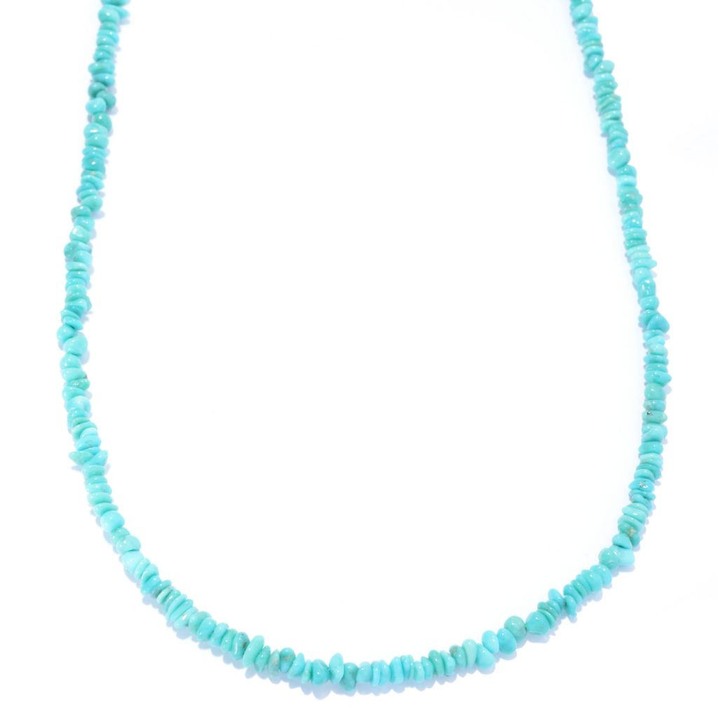 "141-227 - Gem Insider Sterling Silver 30"" Campitos Mexican Turquoise Bead Necklace"