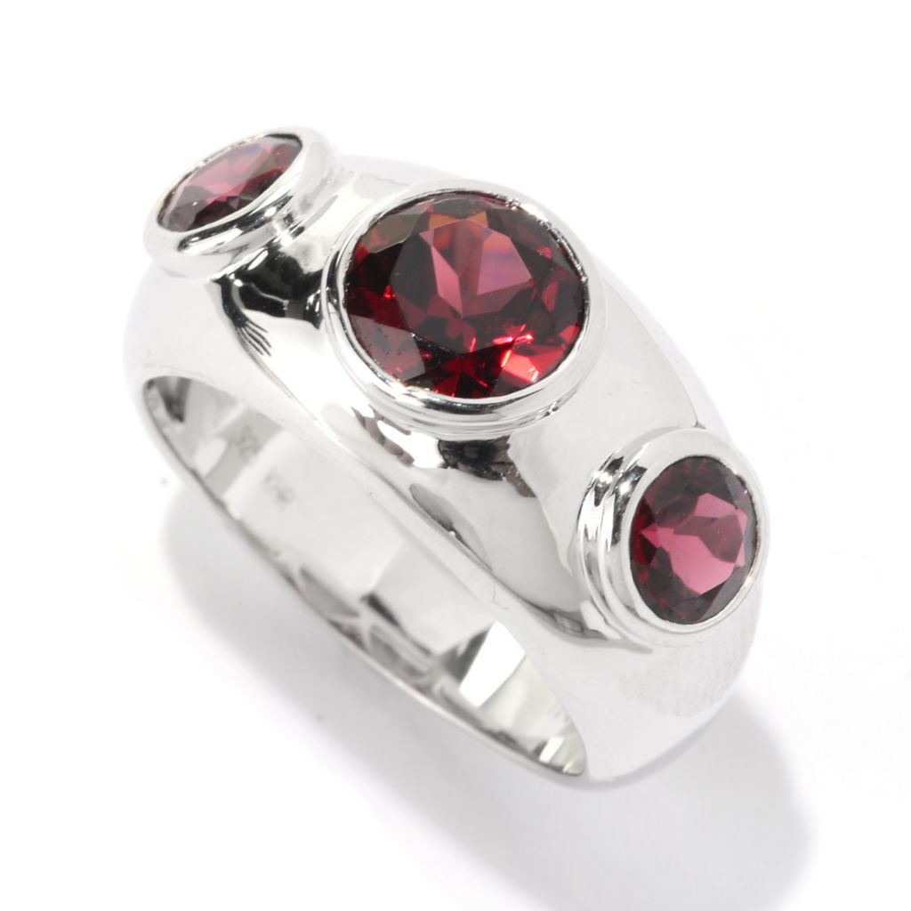 141-229 - Gem Treasures Sterling Silver 2.17ctw Round Rhodolite Band Ring