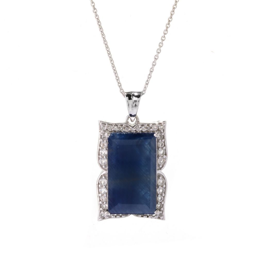 141-230 - Gem Treasures Sterling Silver 20 x 12mm Gemstone & White Topaz Pendant w/ Chain