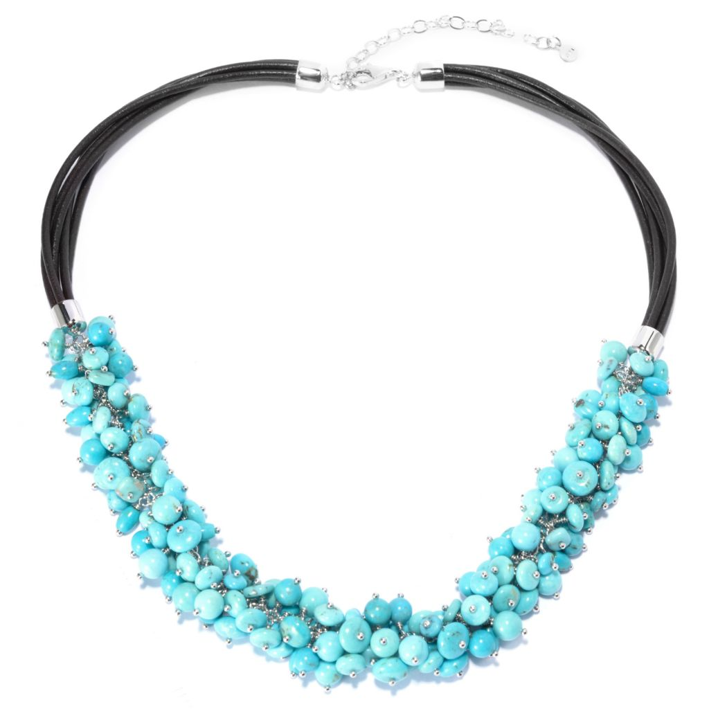 "141-231 - Gem Insider Sterling Silver 18.25"" Multi Shape Turquoise Beaded Necklace"