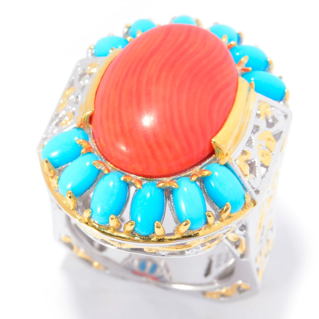 141-237 - Gems en Vogue 18 x 13mm Oval Bamboo Coral & Sleeping Beauty Turquoise Ring