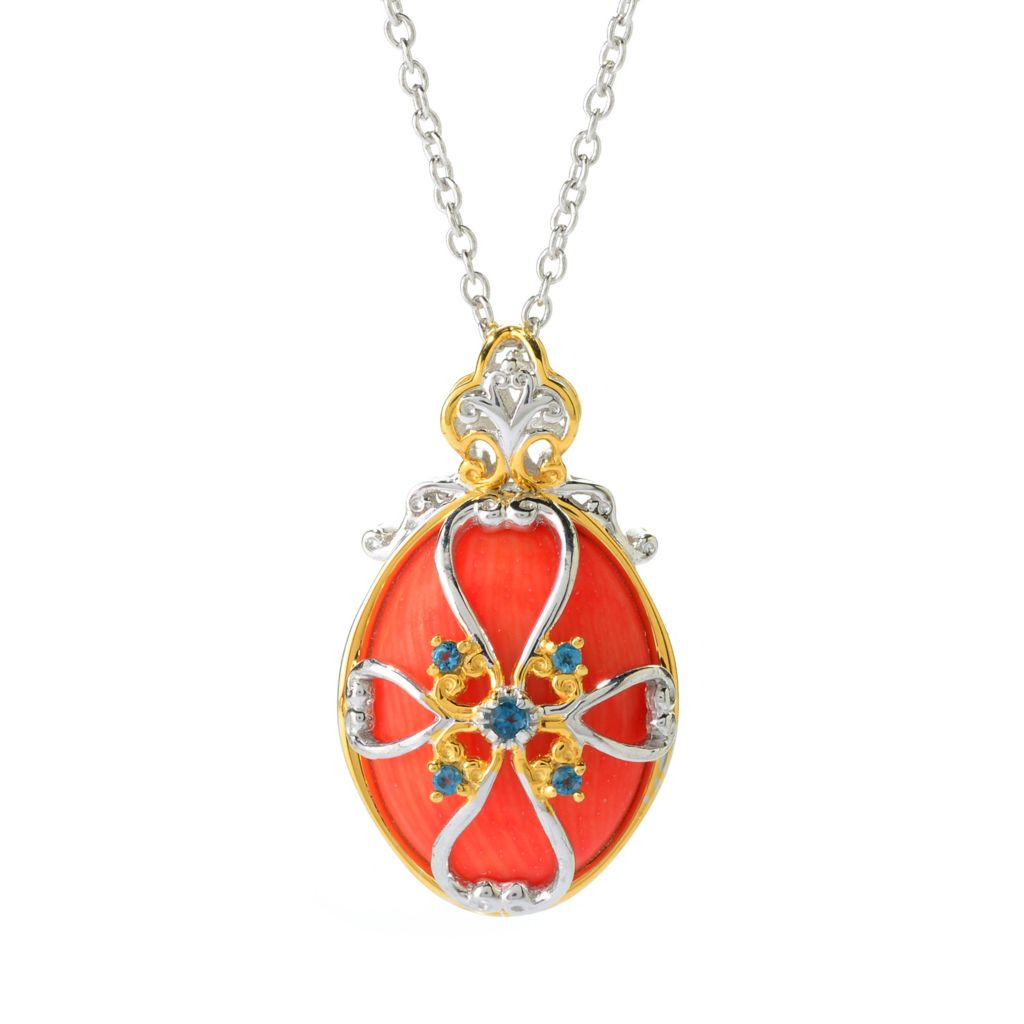 141-238 - Gems en Vogue 20 x 15mm Oval Bamboo Coral & Gemstone Pendant w/ Chain