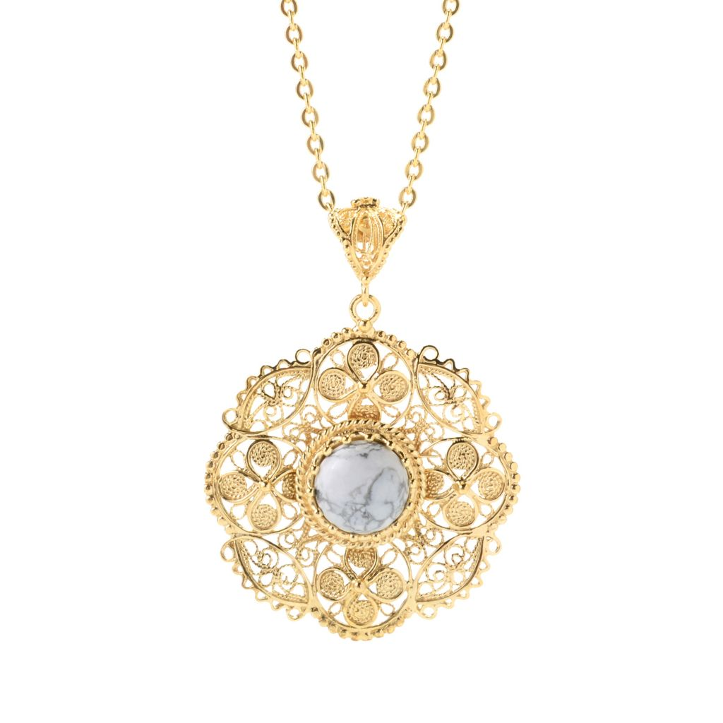 141-239 - Antalia™ Turkish Jewelry 18K Gold Embraced™ 12mm Gemstone Filigree Pendant