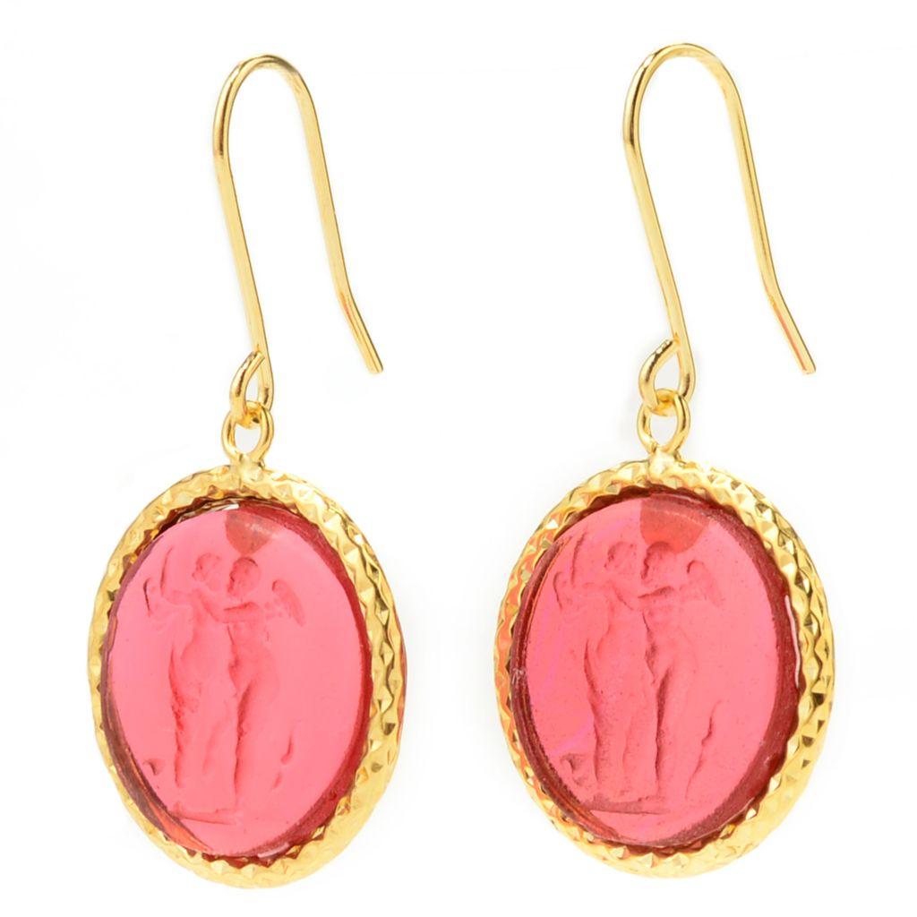 "141-257 - Italian Designs with Stefano 14K Gold 1.25"" Carved Venetian Glass Earrings"