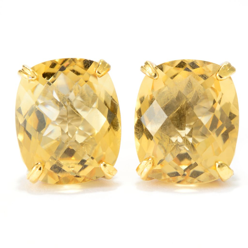 141-260 - Gems en Vogue 10.74ctw Brazilian Canary Citrine Stud Earrings