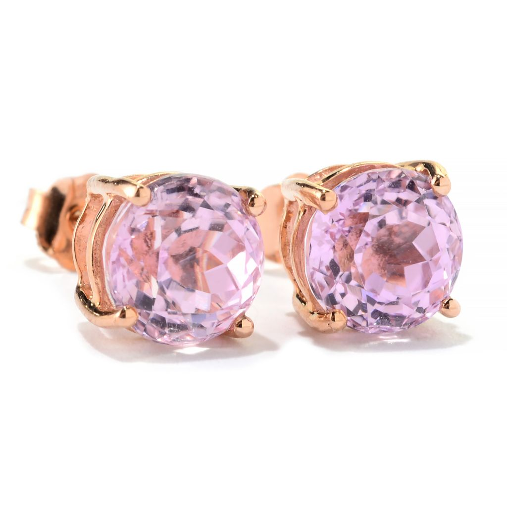 141-261 - Gem Treasures 14K Rose Gold 2.90ctw Round Kunzite Stud Earrings