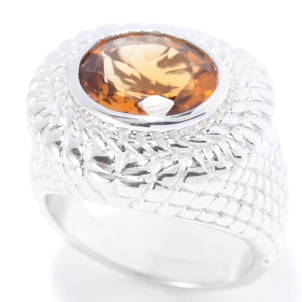 141-264 - Gem Insider Sterling Silver 3.40ctw Oval Madeira Citrine East-West Ring
