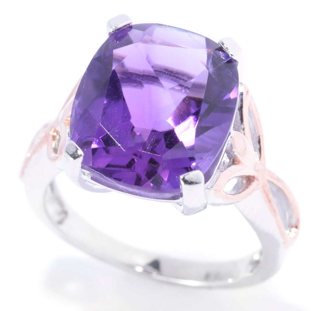 141-265 - Gem Insider Sterling Silver 5.70ctw Cushion Cut Amethyst Ring