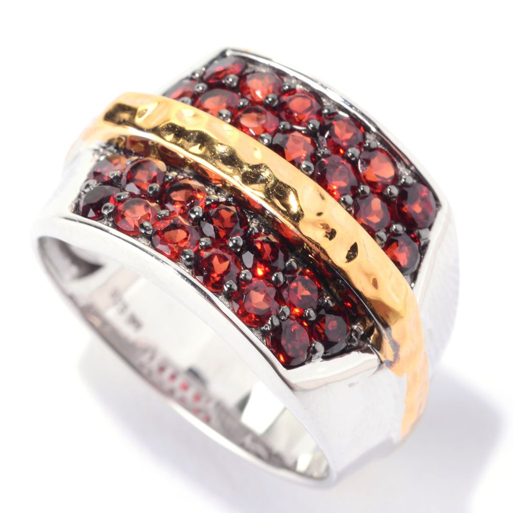 141-273 - Men's en Vogue 2.08ctw Round Almandine Garnet Martellato Band Ring