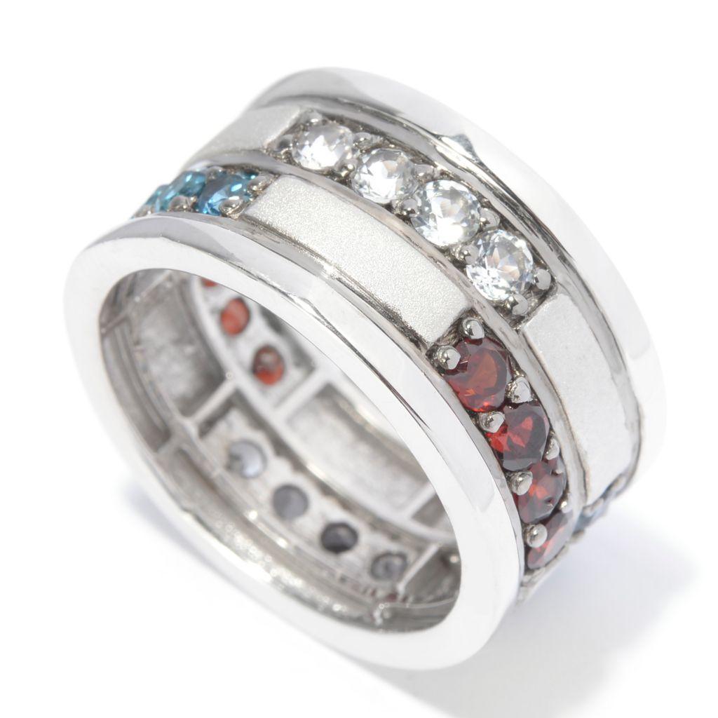 141-274 - Men's en Vogue 3.28ctw Red, White & Blue Multi Gemstone Eternity Band Ring