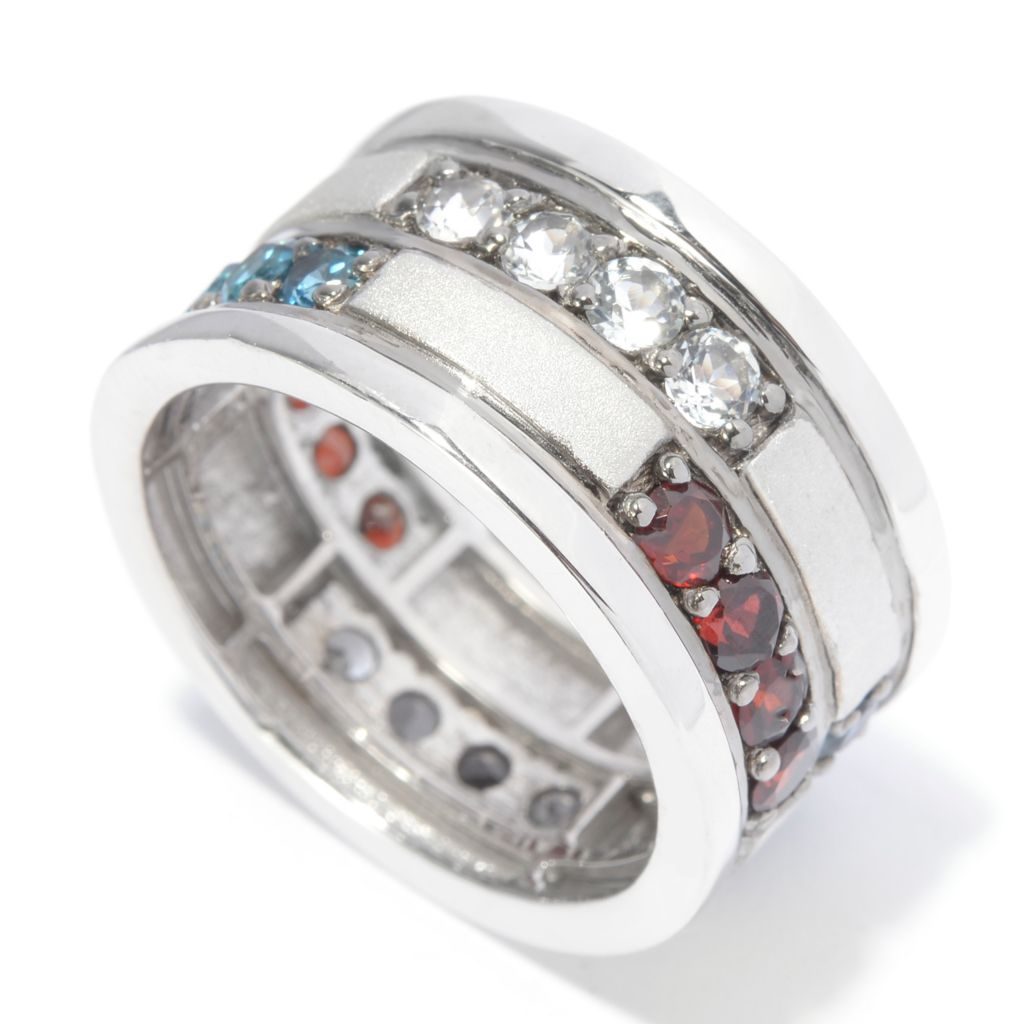 141-274 - Men's en Vogue 3.28ctw Red, White & Blue Multi Gemstone Eternity Band Ring