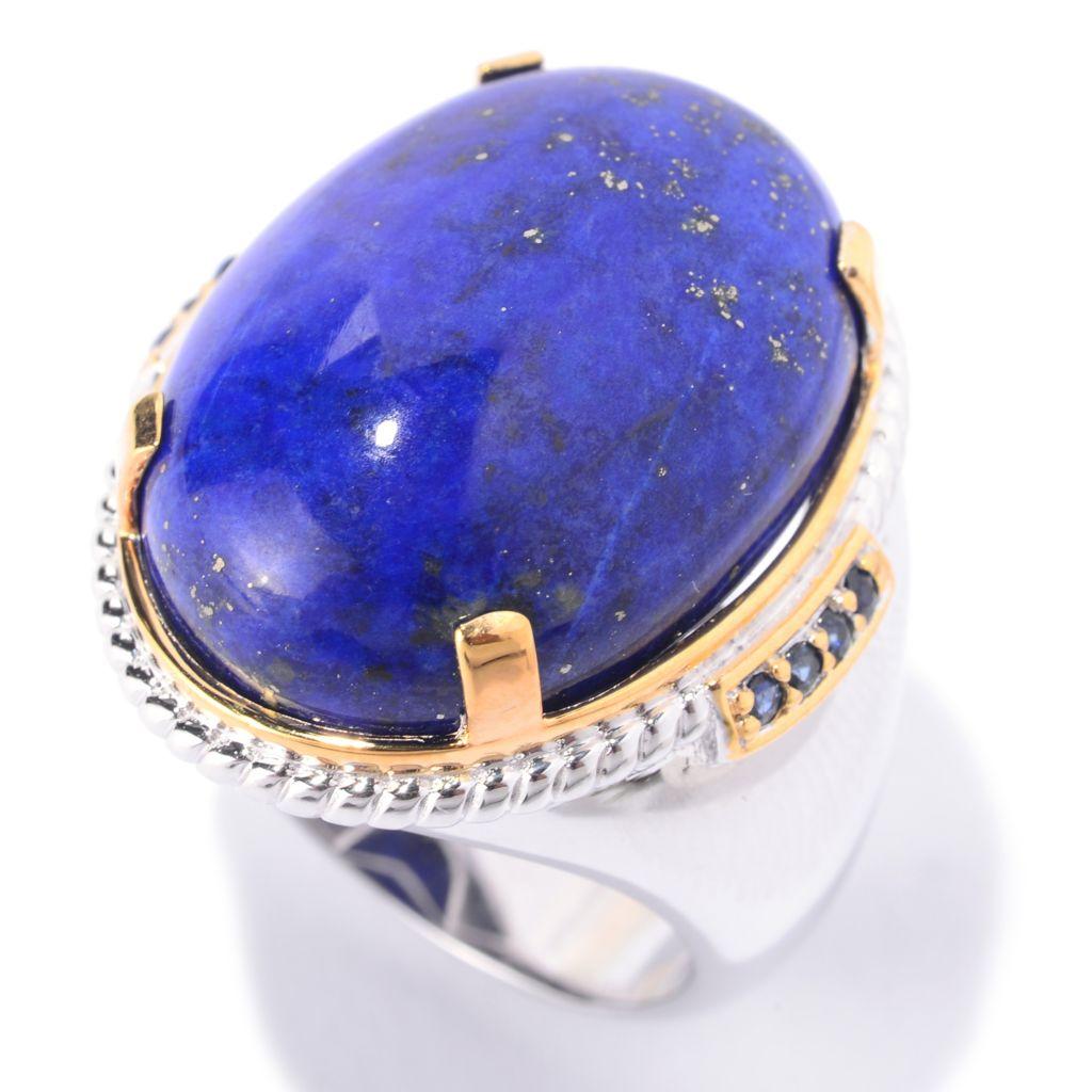 141-275 - Men's en Vogue 25 x 18mm Oval Lapis Lazuli & Sapphire Polished Ring