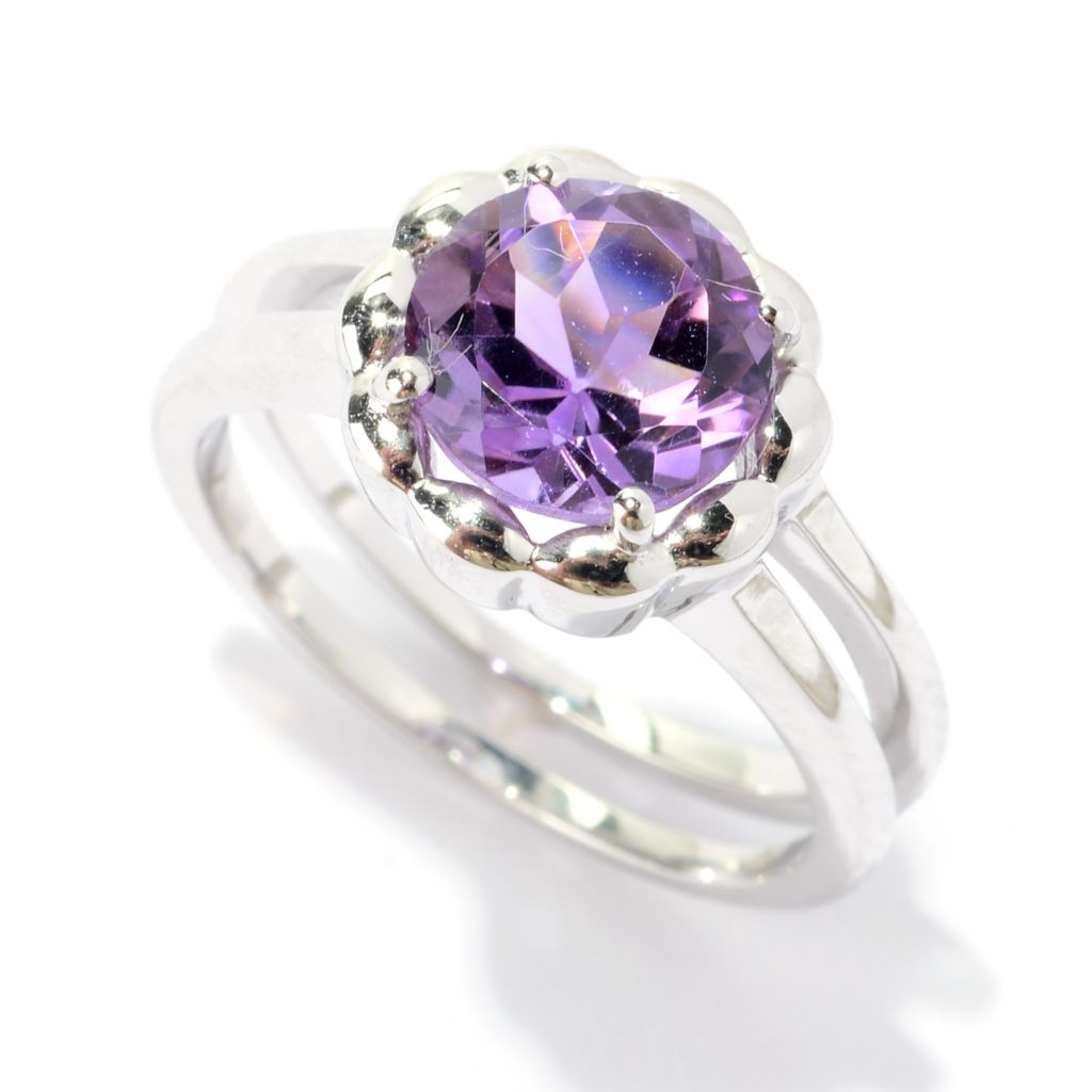 141-299 - Gem Treasures Sterling Silver 1.36ctw Round Amethyst Band Ring