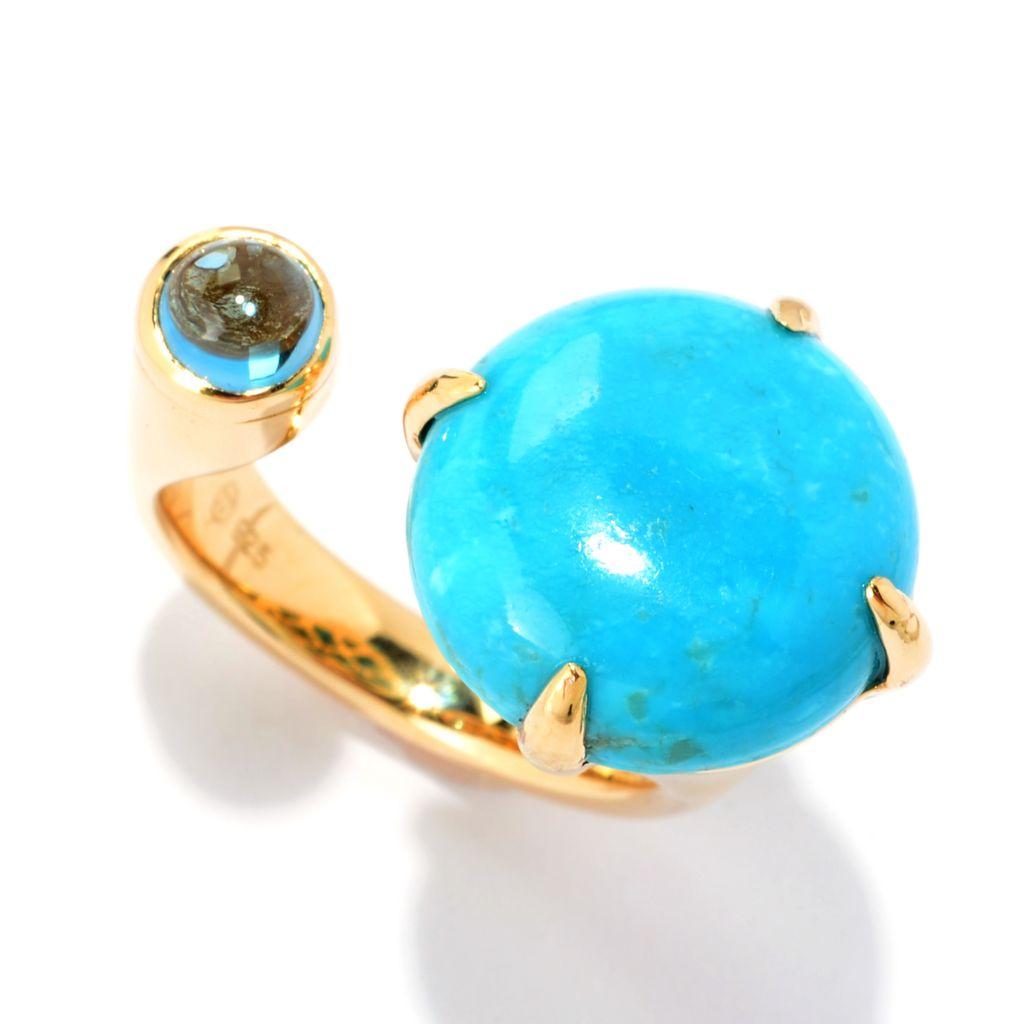 141-319 - Omar Torres 15mm Kingman Turquoise & London Blue Topaz Ring