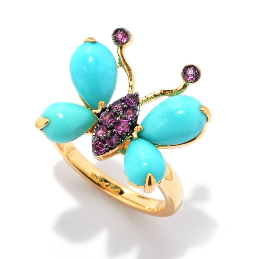 141-321 - Omar Torres Sleeping Beauty Turquoise & Brazilian Garnet Butterfly Ring