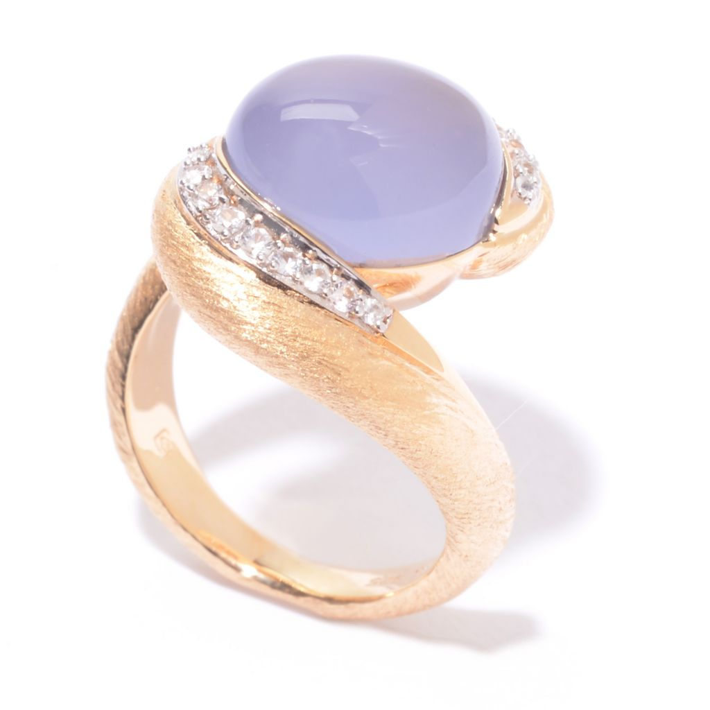 141-330 - Michelle Albala 12 x 10mm Blue Chalcedony & White Sapphire Twisted Band Ring