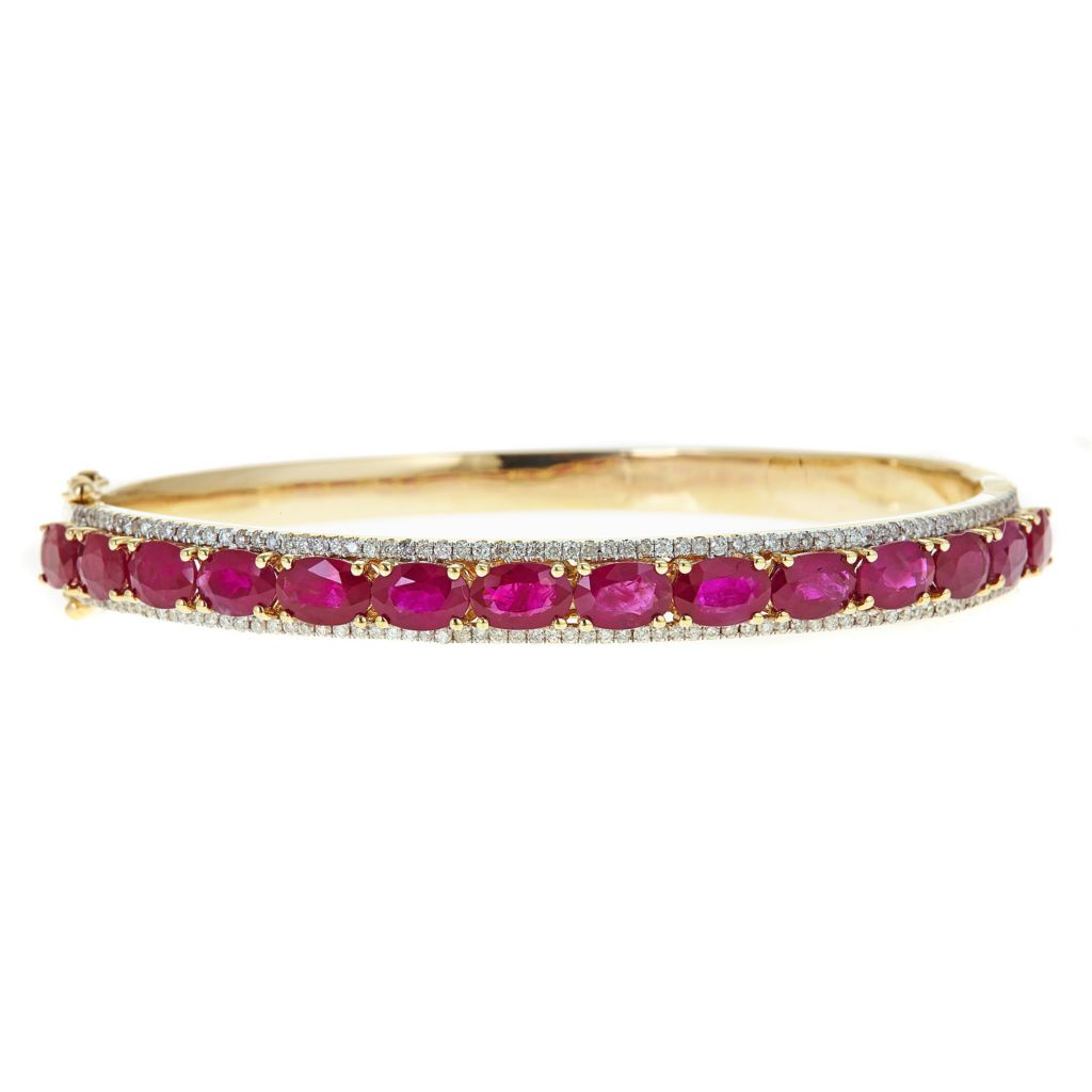 141-344 - Fierra™ 14K Yelllow Gold 8.85ctw Ruby & Diamond Bangle Bracelet