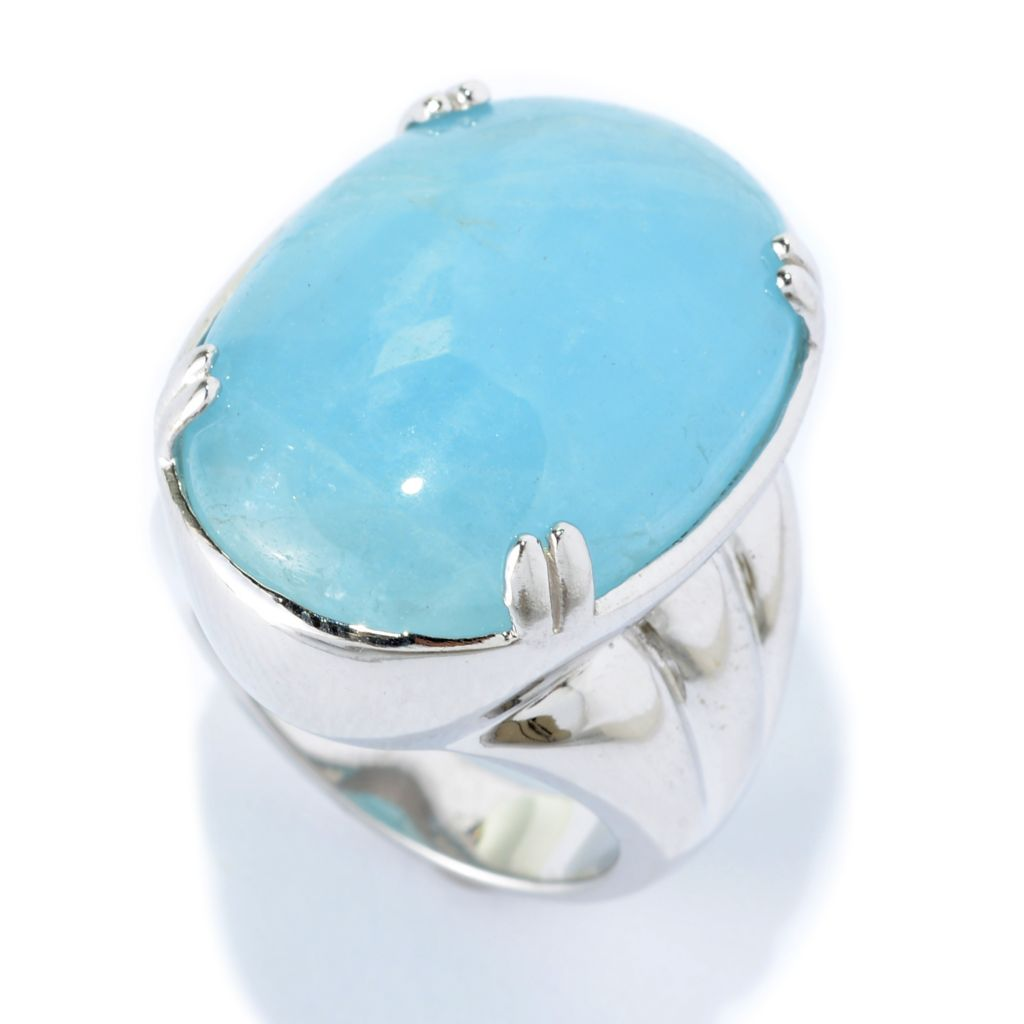 141-345 - Gem Treasures Sterling Silver 25 x 18mm Oval Aquamarine North-South Ring