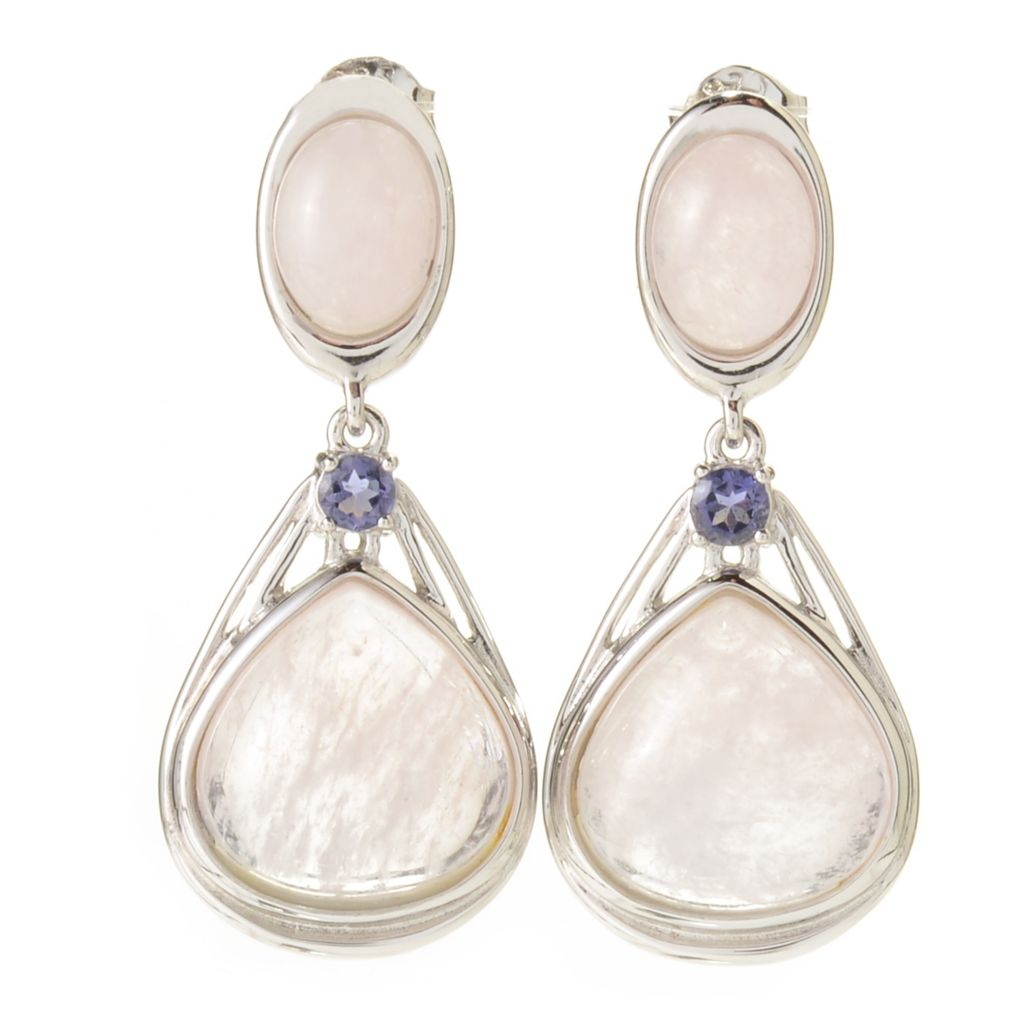 "141-346 - Gem Treasures Sterling Silver 1.25"" 13.66ctw Morganite & Iolite Drop Earrings"