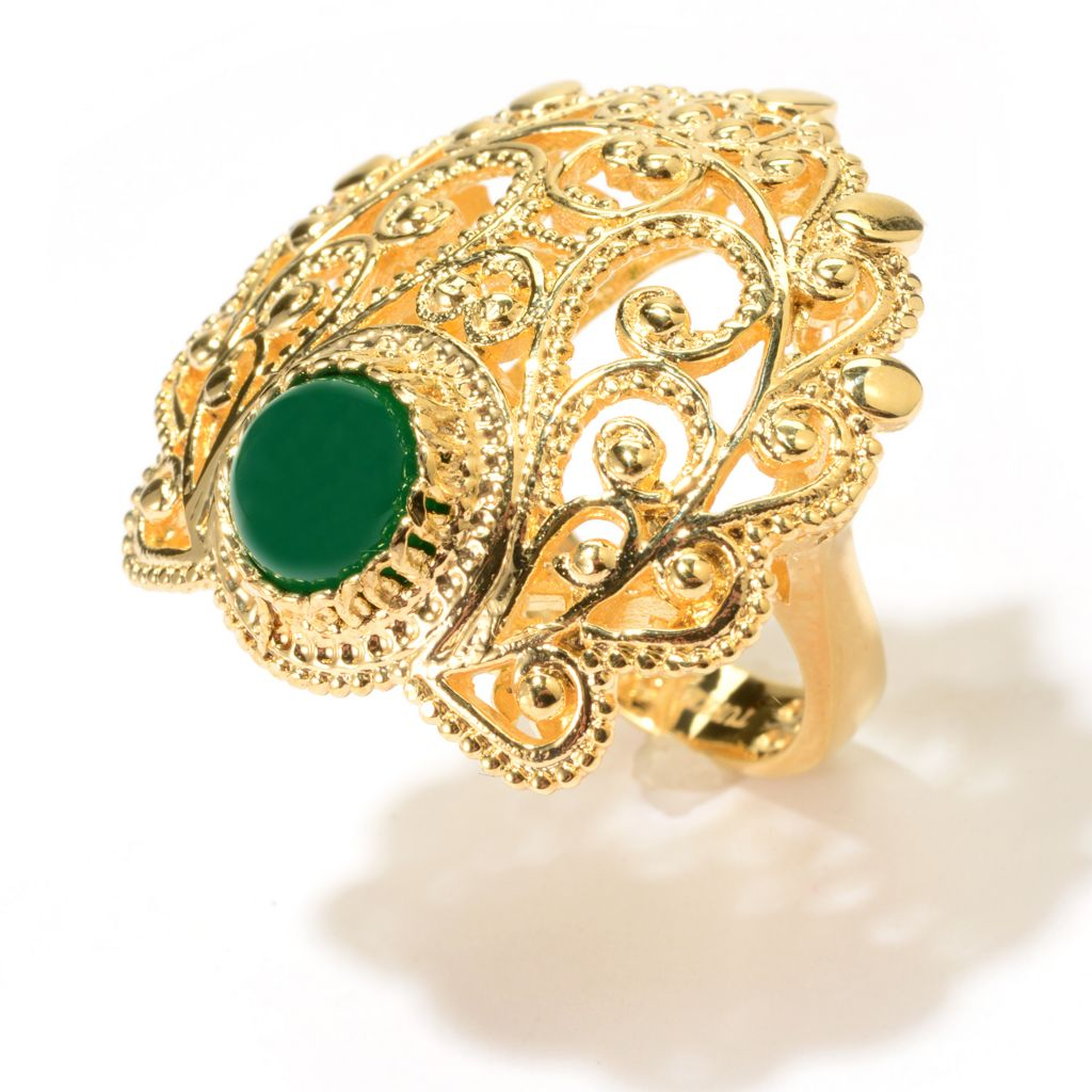 141-350 - Antalia™ Turkish Jewelry 18K Gold Embraced™ 8mm Agate Filigree Ring