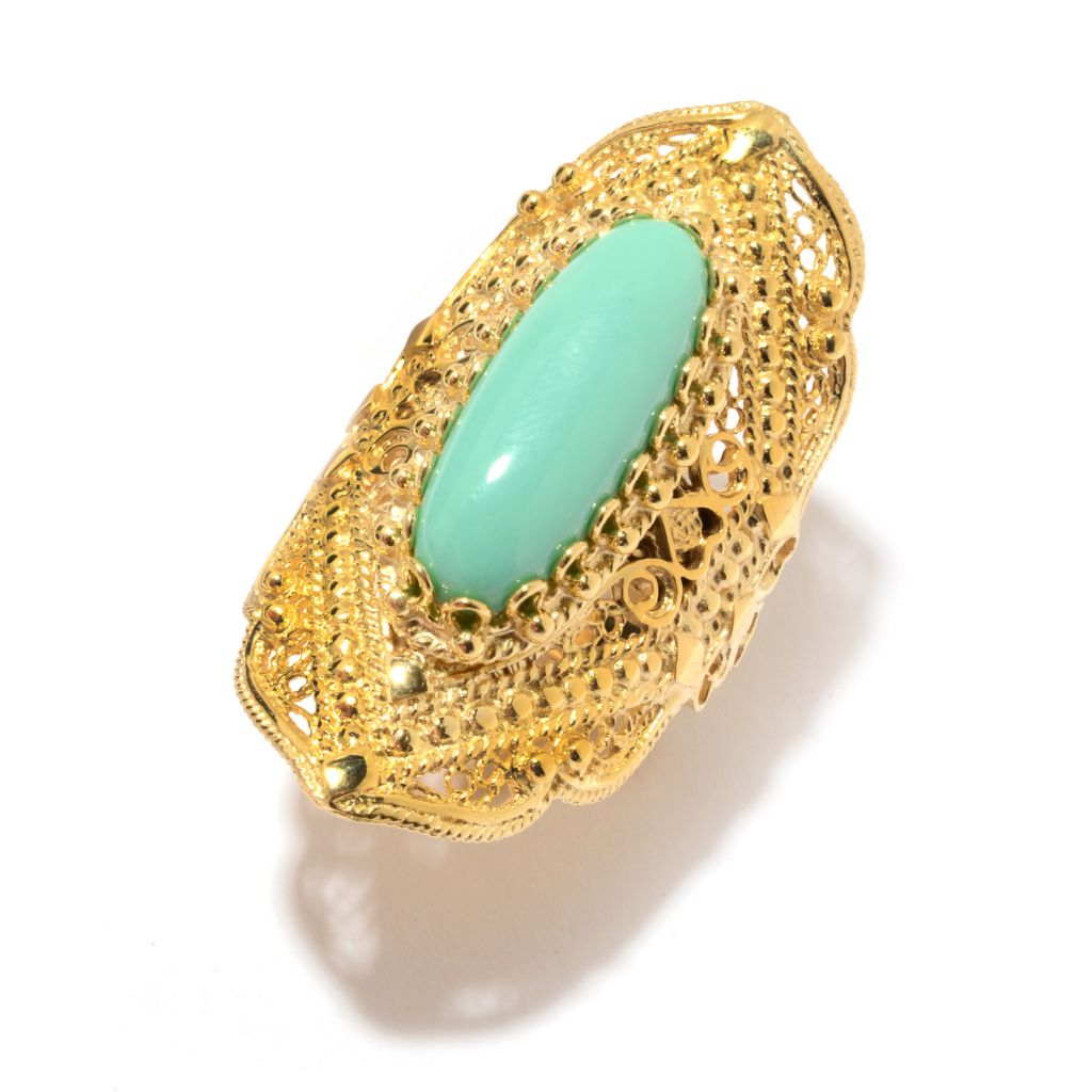 141-352 - Antalia™ Turkish Jewelry 18K Gold Embraced™ 22 x 8mm Gemstone Elongated Ring