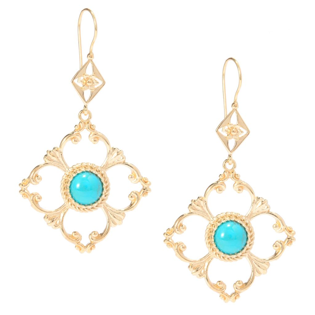 "141-353 - Antalia™ Turkish Jewelry 18K Gold Embraced™ 2.25"" 8mm Gemstone Cut-out Earrings"