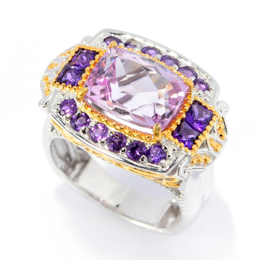 141-359 - Gems en Vogue 4.97ctw Cushion Cut Kunzite & African Amethyst Ring
