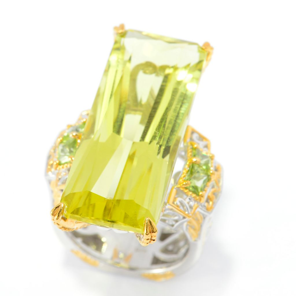 141-362 - Gems en Vogue 23.94ctw Ouro Verde & Peridot Elongated Ring