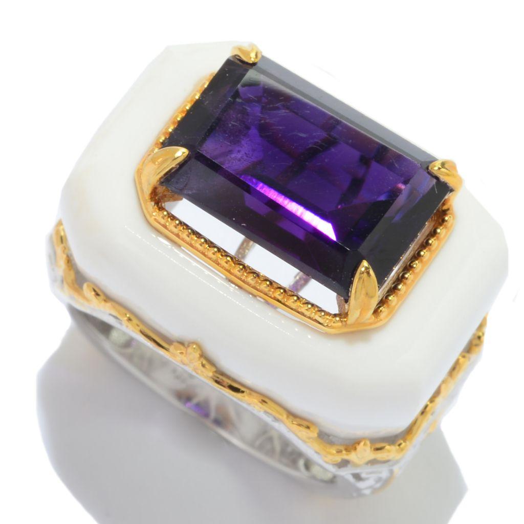 141-364 - Gems en Vogue 7.57ctw Emerald Cut Tanzanian Amethyst & White Onyx Scrollwork Ring