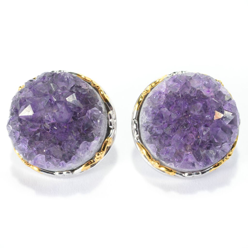 141-366 - Gems en Vogue 15mm Round Uruguayan Amethyst Geode Stud Earrings