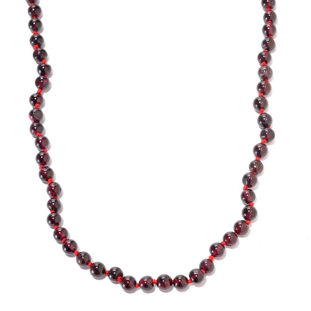 141-369 - Gems en Vogue Round Rhodolite Garnet Bead Toggle Necklace