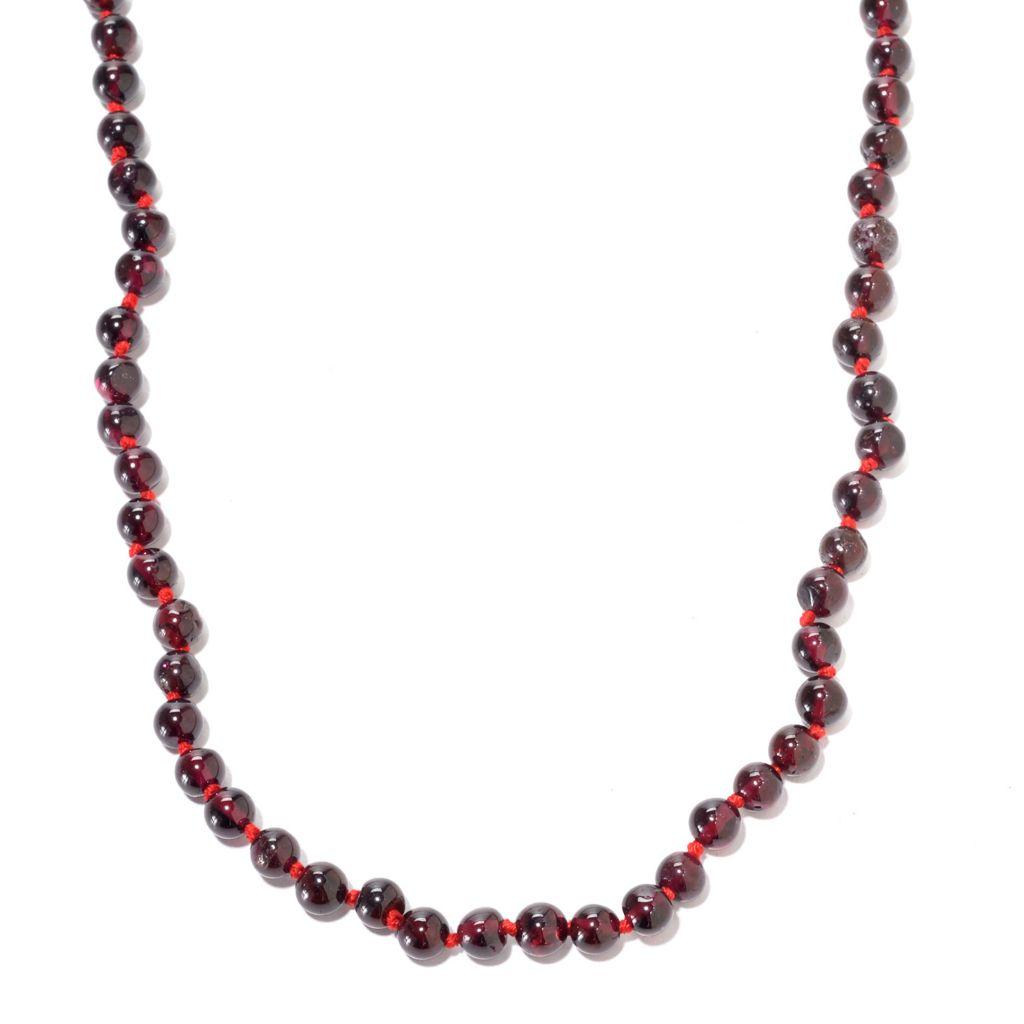 141-369 - Gems en Vogue Round Rhodolite Garnet Bead Toggle Necklace