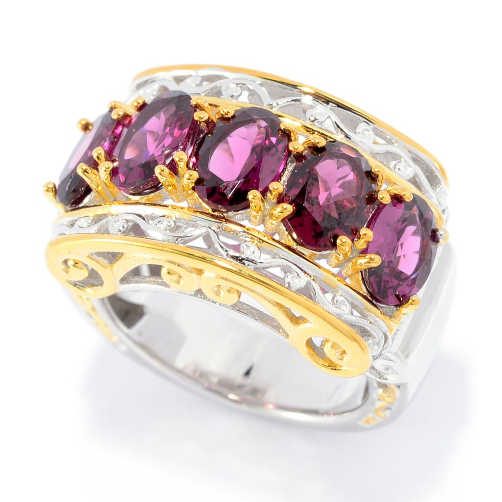 141-372 - Gems en Vogue 4.90ctw Oval Rhodolite Garnet Scrollwork Wide Band Ring