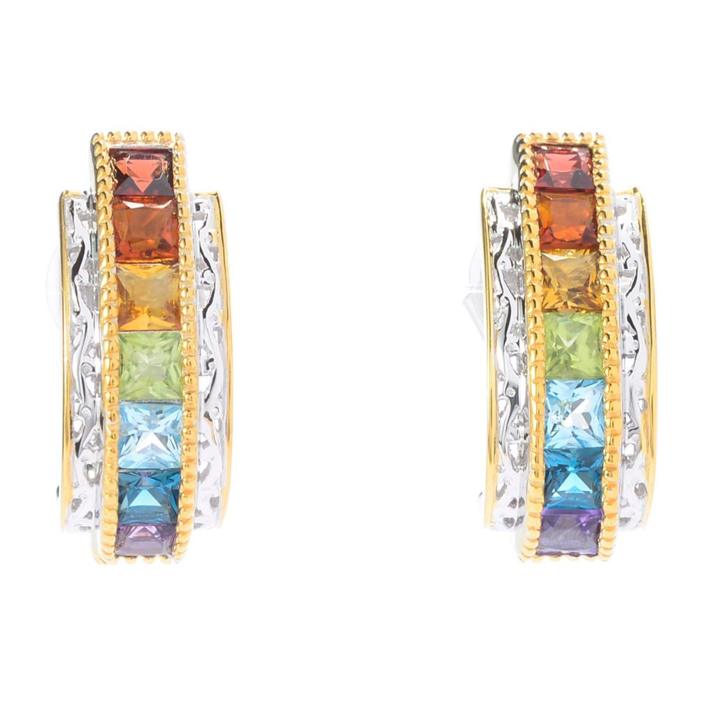 141-374 - Gems en Vogue Princess Cut Gemstone J-Hoop Earrings