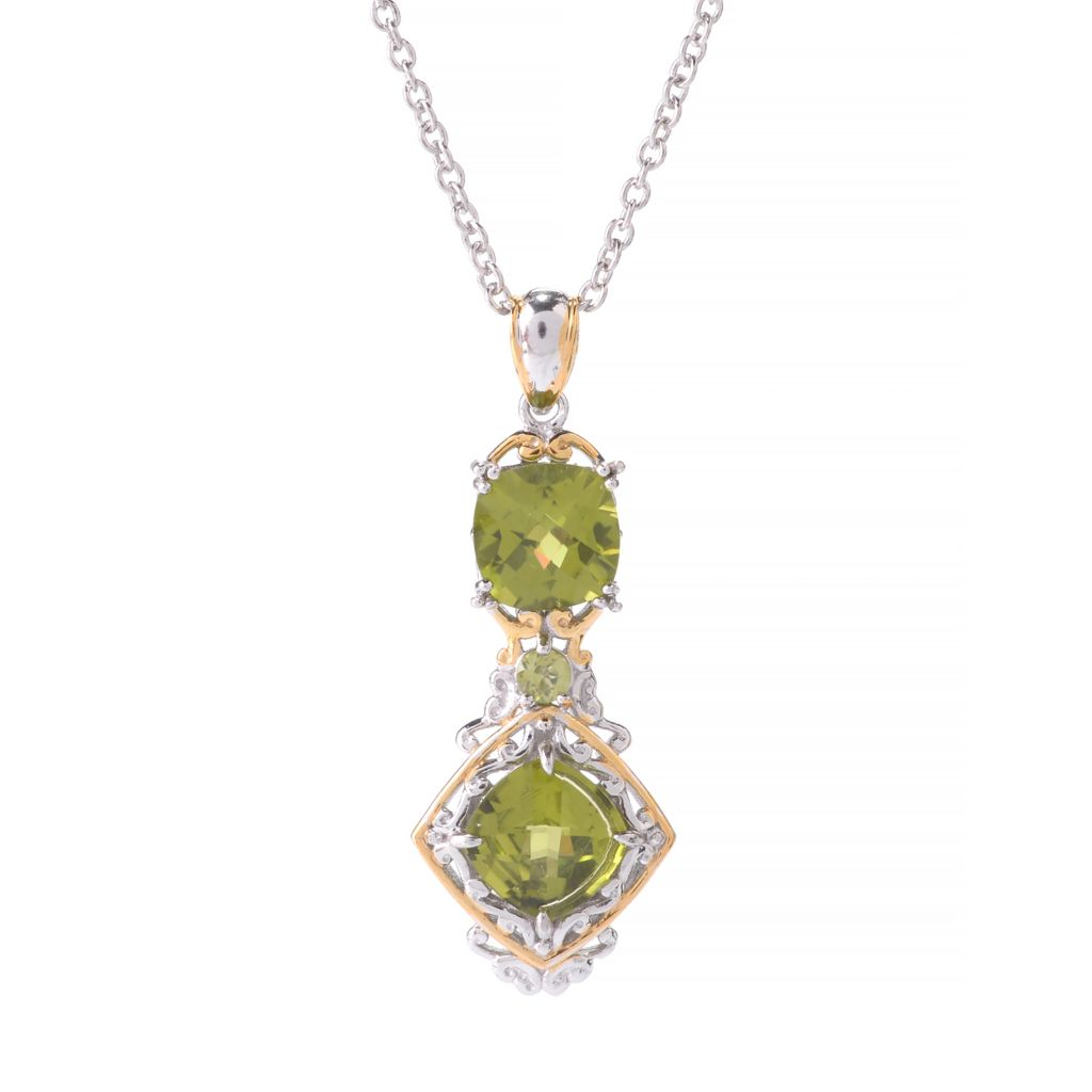 "141-378 - Gems en Vogue 4.23ctw Round & Cushion Shaped Peridot Pendant w/ 18"" Chain"