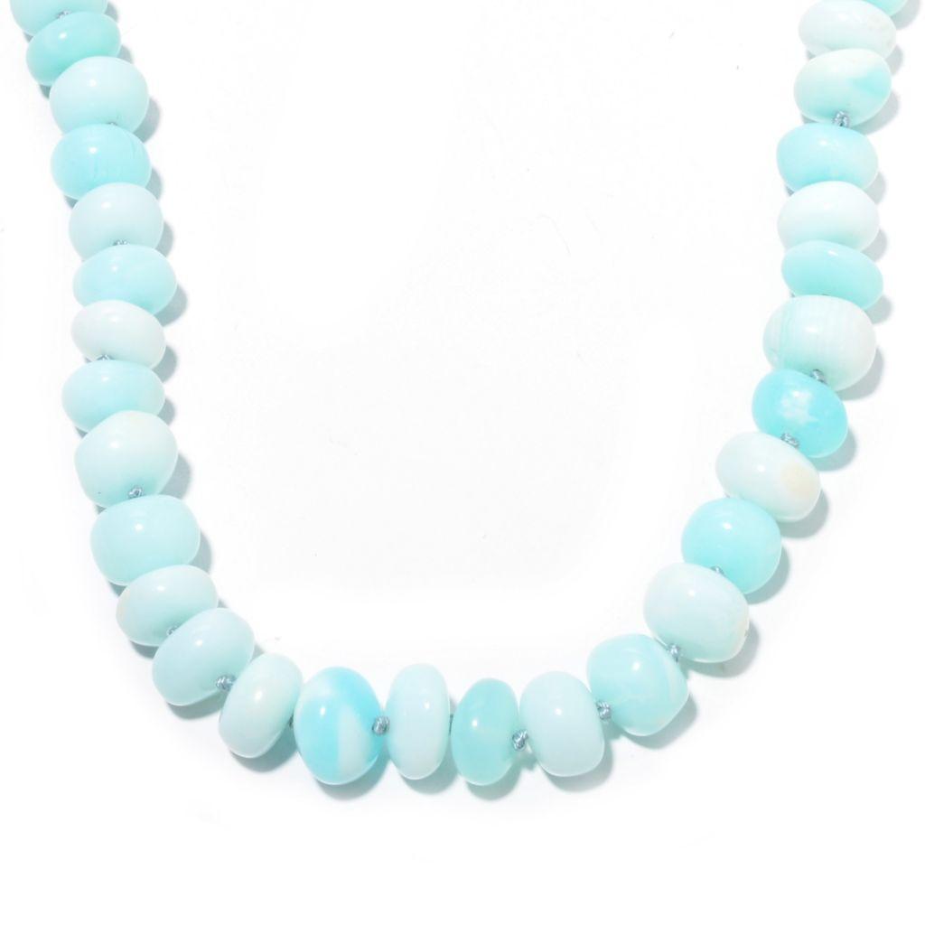 141-380 - Gems en Vogue 11-12mm Peruvian Blue Opal Bead & Sapphire Toggle Necklace