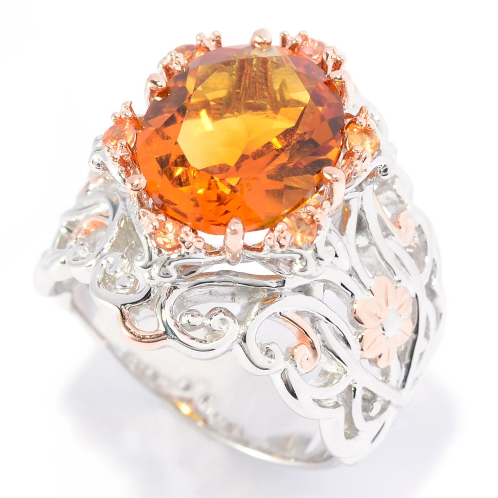 141-383 - Gems en Vogue 4.36ctw Oval Madeira Citrine & Orange Sapphire Flower Band Ring