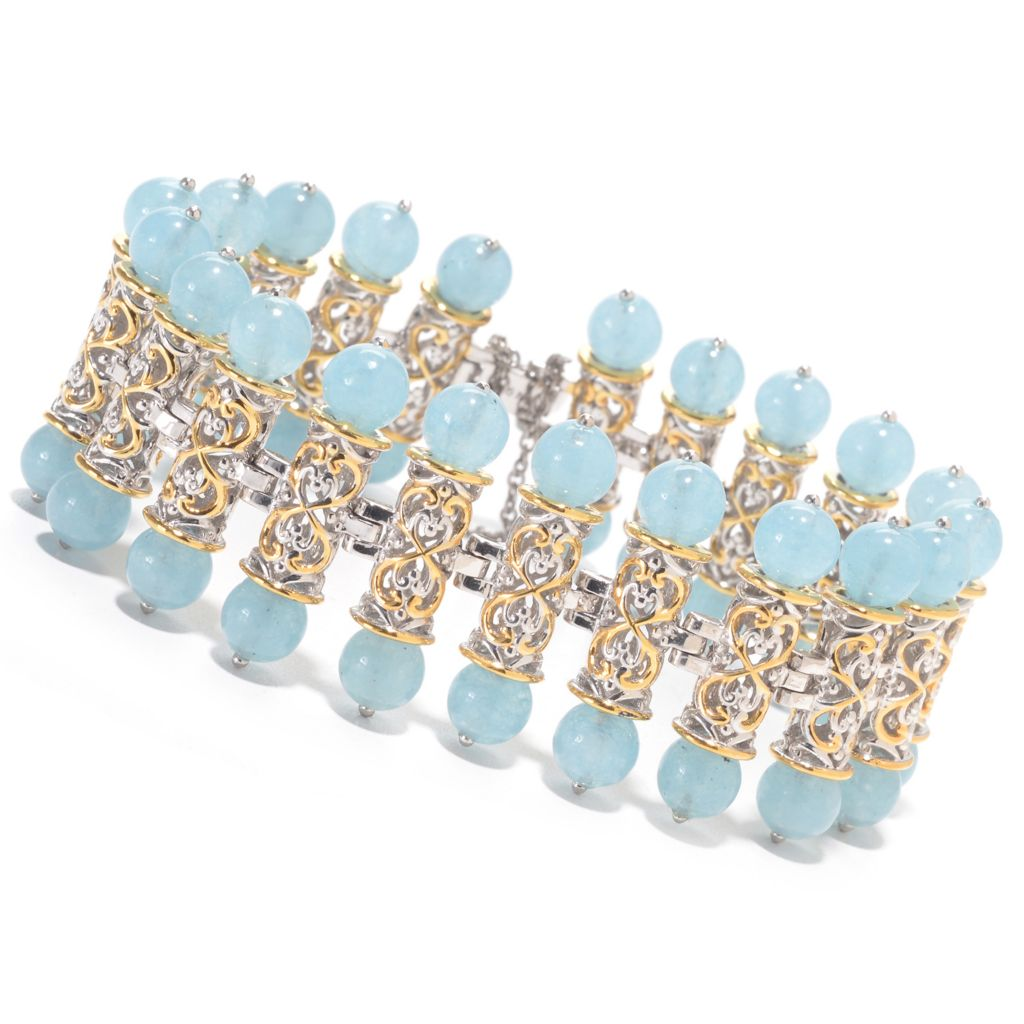 141-384 - Gems en Vogue Round Aquamarine Bead Fancy Link Bracelet