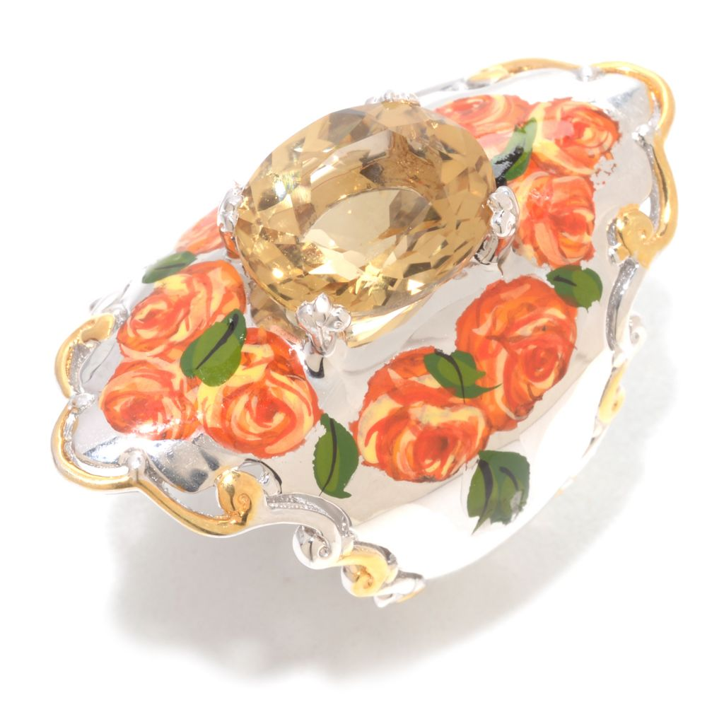 141-386 - Gems en Vogue 4.50ctw Brazilian Canary Citrine Hand-Painted Flower Ring