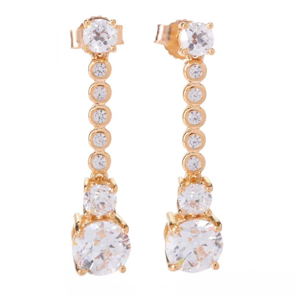 "141-389 - TYCOON 1"" 3.80 DEW TYCOON CUT Simulated Diamond Drop Earrings"