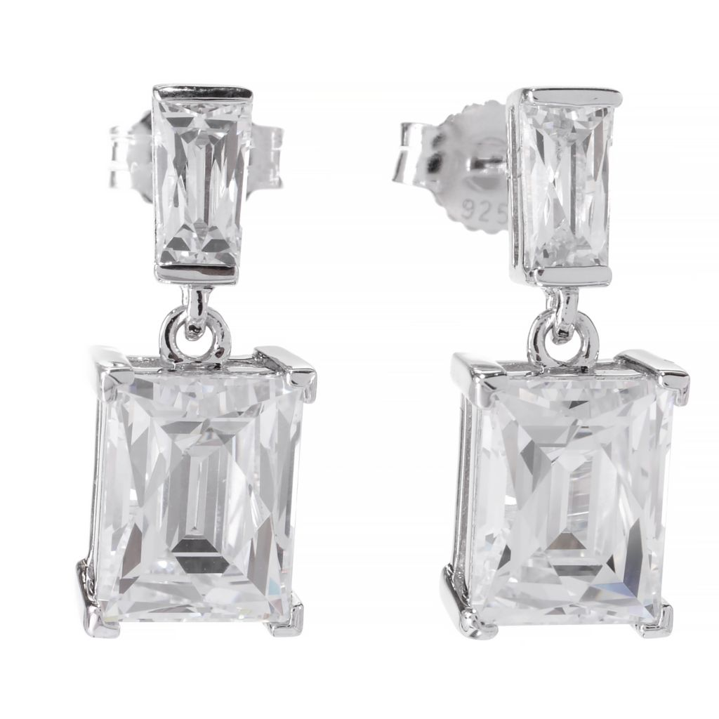 141-390 - TYCOON Platinum Embraced™ 5.78 DEW Simulated Diamond Geometric Drop Earrings