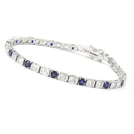141-393 - TYCOON Platinum Embraced™ Square & Round Simulated Gemstone Line Bracelet