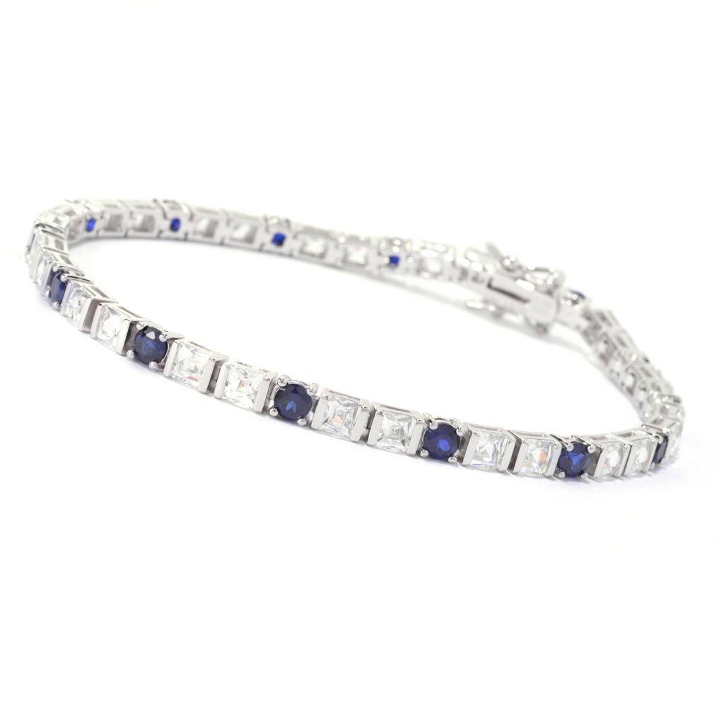 141-393 - TYCOON Platinum Embraced™ Square & Round Simulated Gemstone Line Bracelet