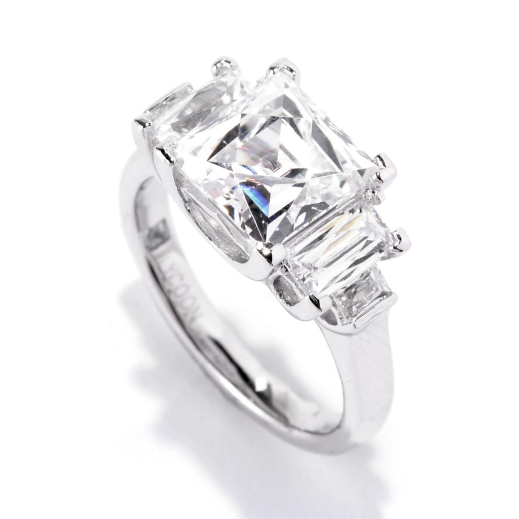 141-394 - TYCOON Platinum Embraced™ 3.89 DEW Square & Baguette Simulated Diamond Ring