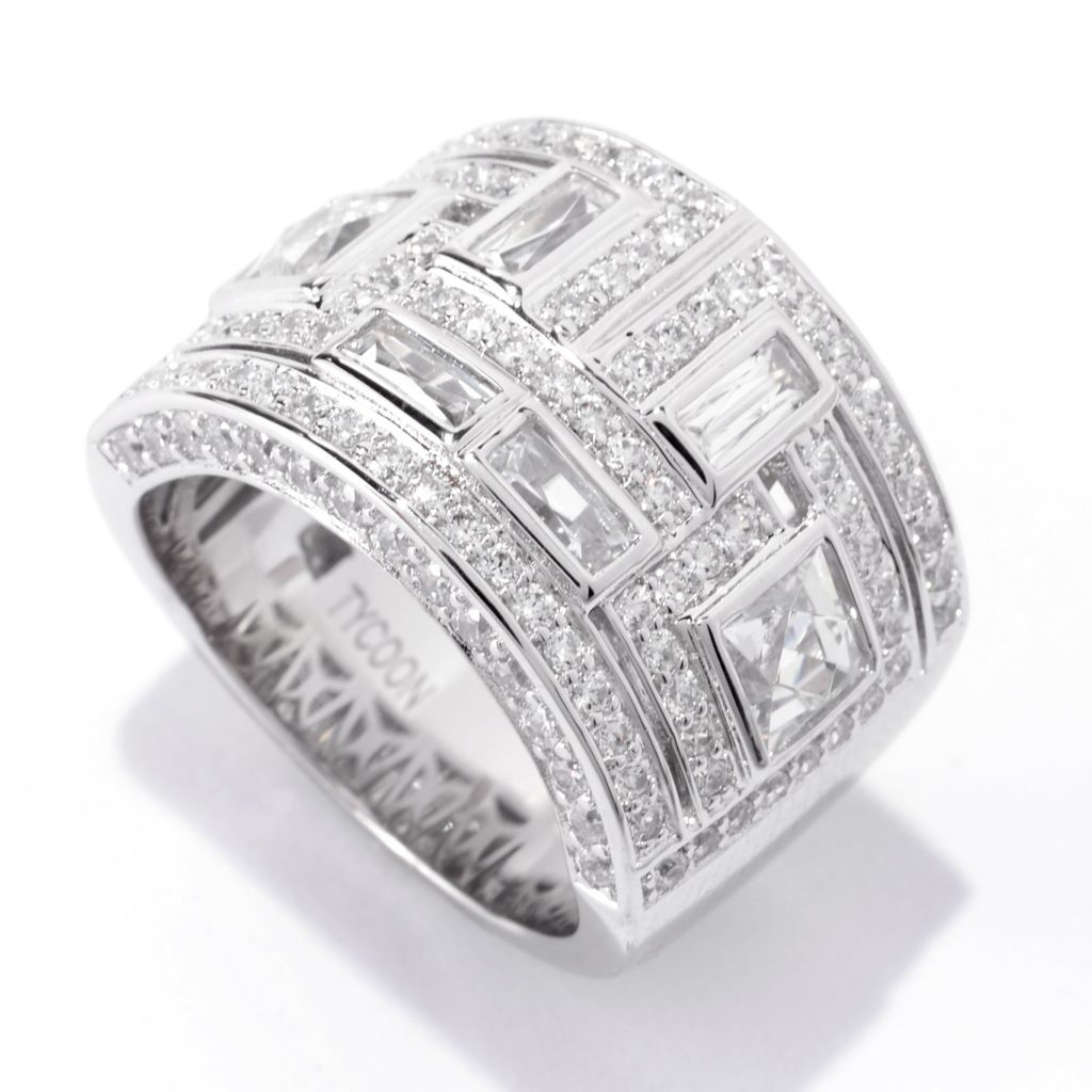 141-396 - TYCOON Platinum Embraced™ 2.83 DEW Simulated Diamond Greek Key Wide Band Ring
