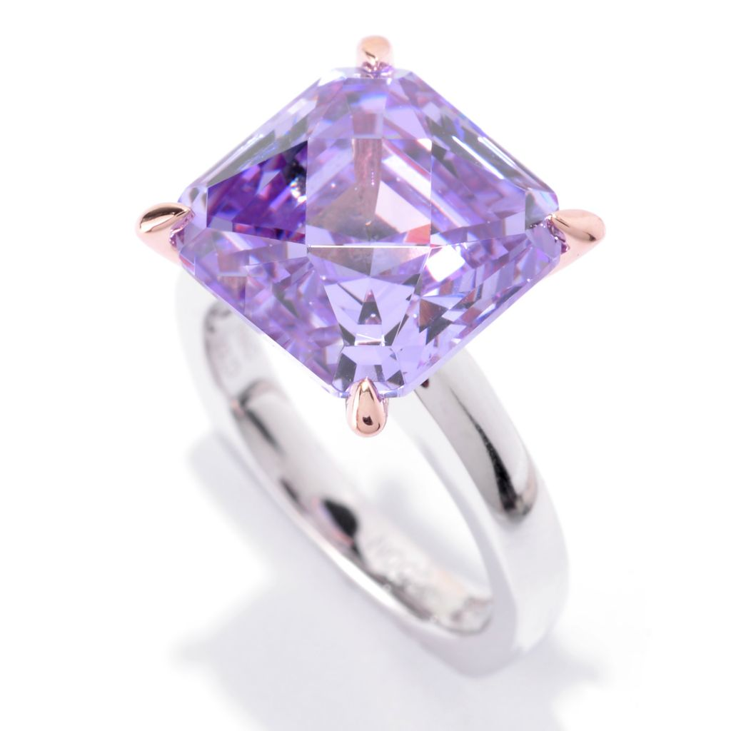 141-397 - TYCOON Two-tone Embraced™ 6.74 DEW Square Simulated Gemstone Solitaire Ring