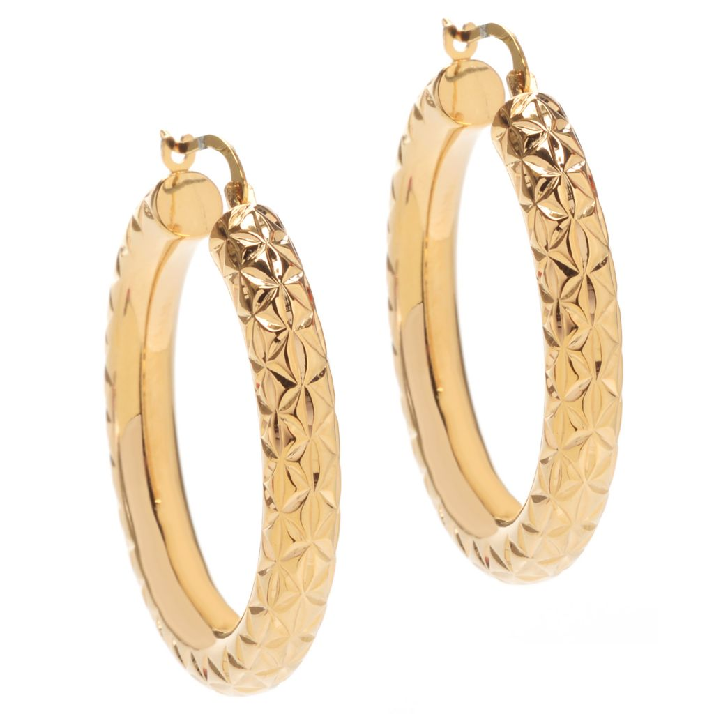 "141-405 - Essanté Gold™ 14K Gold Over Resin 1"" Diamond Cut Polished Hoop Earrings"