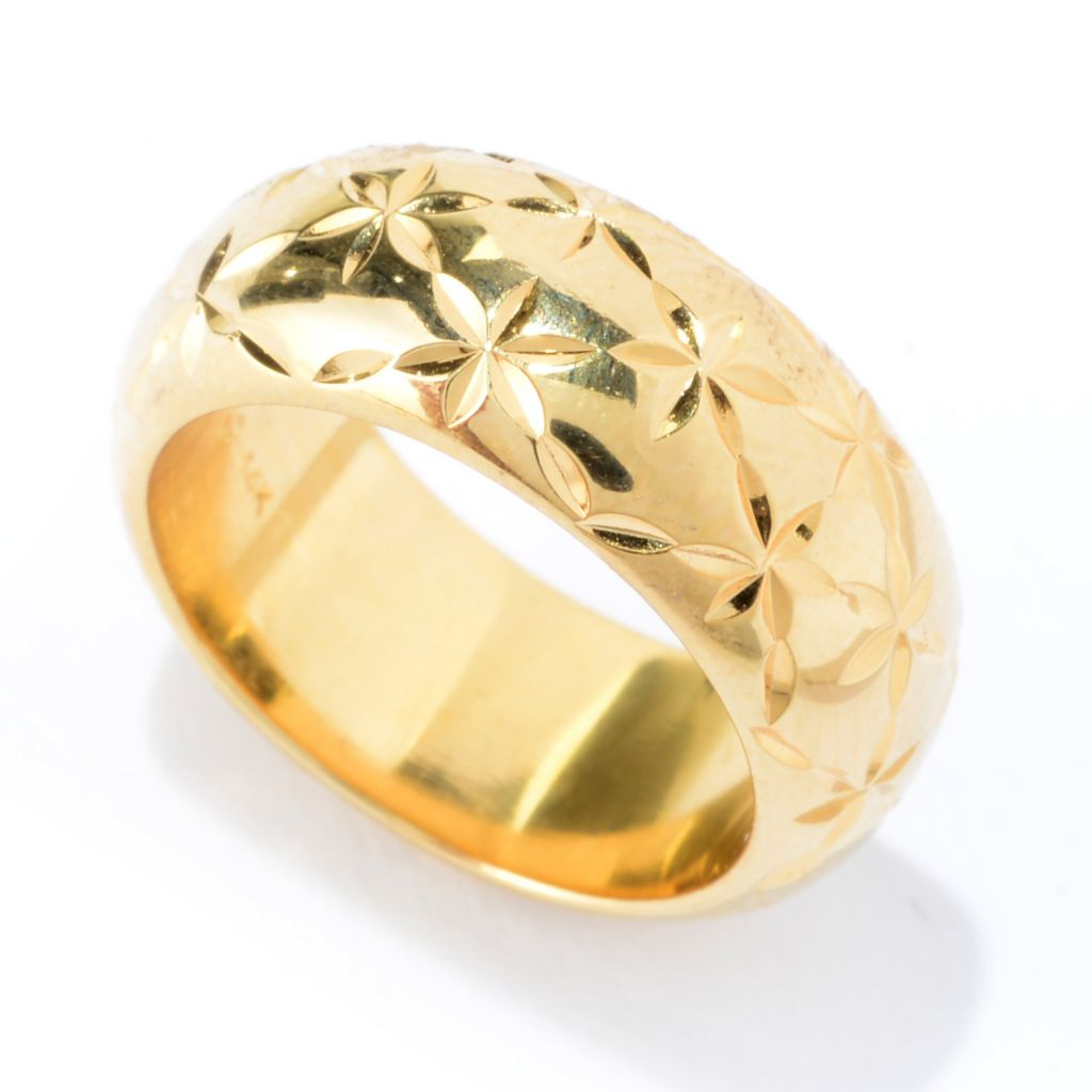 141-423 - Essanté Gold™ 14K Gold Over Resin Polished & Etched Floral Pattern Band Ring