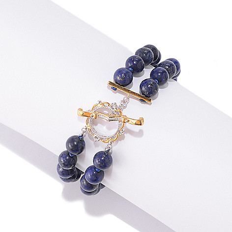 141-430 - Gems en Vogue 8mm Lapis Lazuli Double Strand Beaded Bracelet w/ Toggle Clasp